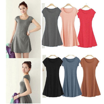 Women Color One-piece Slim Basic Dresses Summer Dress Girl Mini Dress Short Sleeve Candy = 1958230404