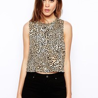 ASOS Animal Print Tank with Drop Armhole and Zip Back - Multi