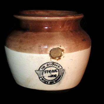 Vintage Steak And Shake Crock, Collectible Crock, Stoneware Crock, Steak And Shake, Souvenir Crock, Advertisement Crock, Home Decor