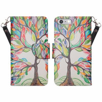 For Apple iPhone 7 Plus Case, Wrist Strap Pu Leather Magnetic Flip Fold[Kickstand] Wallet Case with ID & Card Slots for Iphone 7 Plus - Colorful Tree