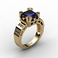 Modern Vintage 14K Yellow Gold 2.0 Carat Princess Blue Sapphire Diamond Solitaire Ring R1023-14KYGDBS