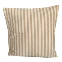 Brown White Stripes Block Pillow cover 18x18 inches-Decorative White Brown Vintage Cushion Cover