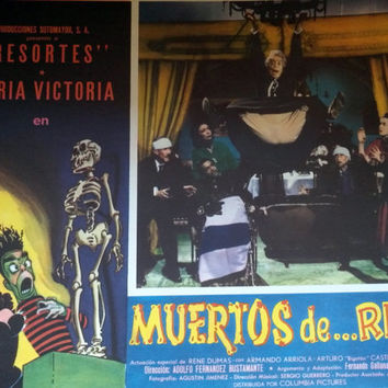 Very Rare 1957 Horror Lobby Cards Muertos de...Risa Mexican Spanish Lot of 4 Columbia Pictures