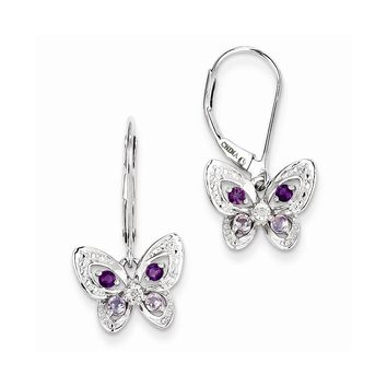 Sterling Silver Amethyst, Pink Amethyst & Diamond Butterfly Earrings""
