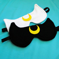 Luna or Artemis Sailor Moon Inspired Sleepmask - Black White Cat Sleep Mask