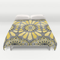 Sunny Yellow Radiant Watercolor Pattern Duvet Cover by Micklyn