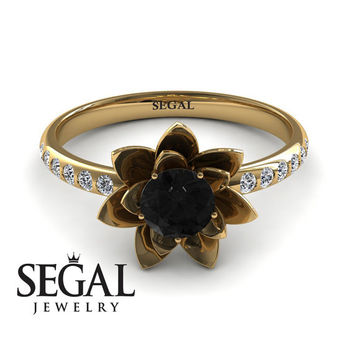 Unique Engagement Ring 14K Yellow Gold Flower Black Diamond With White diamond - Lotus