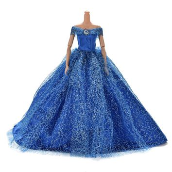 2017 Handmake Wedding Princess Dress Elegant Clothing Gown For Barbie Doll Dresses 7 Colors Available
