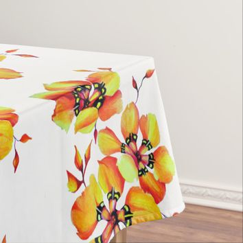 Elegant Orange Flowers Tablecloth