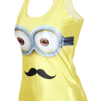 Mustached Minion Face Print Sleeveless Tank Top