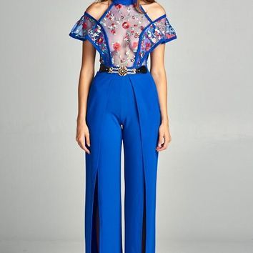 Lace Embroidery Cold Shoulder Jumpsuit