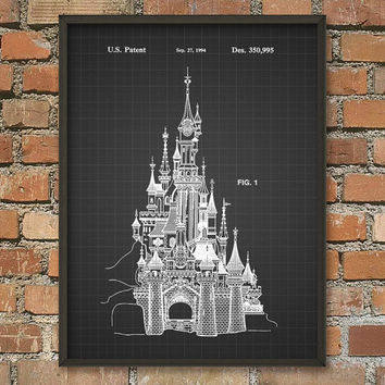 Disney Castle Patent Print - Nursery Wall Art - Bedroom Decor - Castle Patent Poster - Cinderella Castle Patent Sketch Wall Art Print