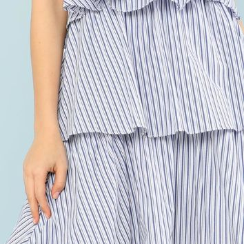 Pinstripe Ruffle Layered Tube Dress