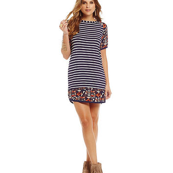 THML Mixed-Print Stripe T-Shirt Shift Dress | Dillards