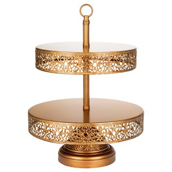 2-Tier Vintage Reversible Dessert Cupcake Stand (Gold)