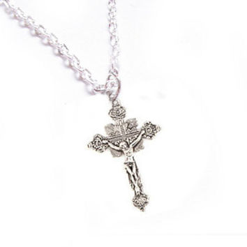 Ornate Cross Jesus Necklace, Religious Christian pendant gift for her