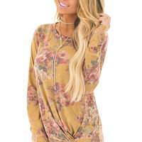 Mustard Floral Print Long Sleeve Top with Front Tie