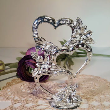 Vintage Earring Tree, Hearts and Butterflies Earring Stand, Silver Earring Holder, Display Jewelry Collection