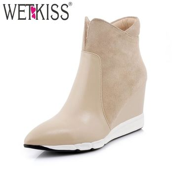 WETKISS 2018 Genuine Leather Women's Boots Side Zipper Pointed toe Wedges Shoes Woman Suede Autumn Ankle Boots Female Footear