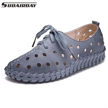 6Color Women's Handmade Shoes Genuine Leather Flat Lacing Breathable Shoes Woman Hollow Out Soft Single Shoes Women Flats