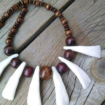 Real Buffalo Tooth Necklace, Bone necklace, Real animal tooth pendant,Shaman Necklace, Gypsy Necklace,Taxidermy oddities jewelry Larp