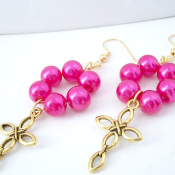 Gold Cross Earrings, Christian Cross Earrings, Religious Earrings, Christian Jewelry, Hot Pink Earrings, Cross Jewelry