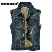Trendy Mountainskin Ripped Jean Jacket Mens Denim Vest 5XL 6XL Jeans Waistcoat Men Cowboy Brand Sleeveless Jacket Male Tank Top JA335 AT_94_13