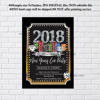 New Years Eve Party Invitation, Holiday party, 2018 holiday party,  disco, 2018 glitter , happy new years  - card 1197