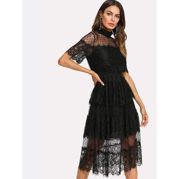 Mock Neck Ruffle Trim Lace Dress