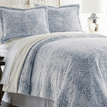 Faux fur/Sherpa 3 piece comforter set Indigo Blue Twin/XL