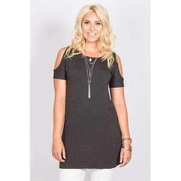 Open Shoulder Tunic - Charcoal - M