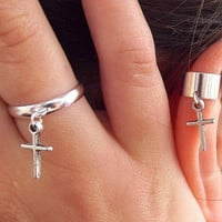 Gift idea for her - Cross Earrings- Cross Ring   - Cartilage earrings -  Set of 2 (one ring one ear cuff) by Box