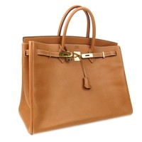 Authentic HERMES Birkin 40 Handbag Bag Ardennes Leather Gold Hardware