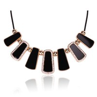 Tribal Collection Black Gold and Crystal Tribal Necklace Black Necklace