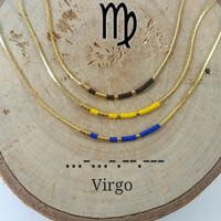 VIRGO Morse Code necklace, CUSTOM morse code, Secret Message, Dainty necklace, Personalized, Morse code jewelry, Birth necklace, sister Gift