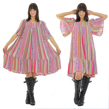 Hippie dress striped Oversized Festival abstract neon Tiered Angel sleeve tent sheer India Tribal Ethnic Medium