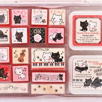 big Kutusita Nyanko stamp set cat and piano - Stamps - Stationery