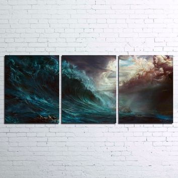 Huge Wave Storm Ocean Sea wall Art Canvas Print Poster picture 3 Panel