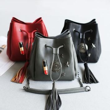 Make-up Hot Deal Beauty Hot Sale On Sale Professional Summer Chain Rivet One Shoulder Tassels Bags Lip Stick [4915806596]