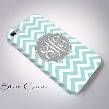 Personalized iPhone 4/ 4s and 5 Case, iPhone 5s Case, Tiffany Blue Chevron with Gray Monogram iPhone 4s Case, Cell Phone Cute iPhone 5 Cove
