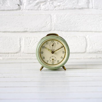 Vintage German Alarm Clock soft Green and Cream Junghans Bivox