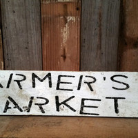 Rustic Farmers Market sign shabby chic cottage kitchen home decor wall hanging house barn wood antique vintage photo prop country garden
