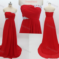 Custom Evening Dress - Long Wedding Party Dress / Formal Evening Dress / Red Prom Dress / Cheap Prom Gowns / Red Prom Dresses