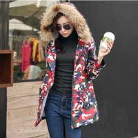 Women : Red and Blue Army Print Parka YRB0582