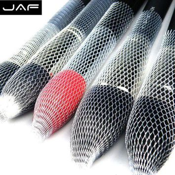 DK7G2 Retail JAF 12 Pcs/Lot Nylon Sheer Mesh Netting Slip On Make Up Brush Guard Forming Hair Shape Makeup Bristle Protectors BP01