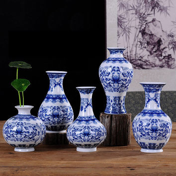 YEFINE Vintage Home Decor Traditional Chinese Ceramic Flower Vases Blue and White Porcelain Vase For Flowers Bonsai Pots