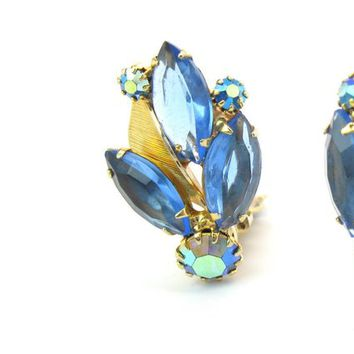 Weiss Rhinestone & Metal Leaf Earrings Indigo Blue Navette, Capri Aurora Borealis AB Clusters Gold Tone Clips Vintage 1950s Fashion Jewelry