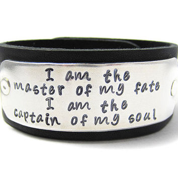 I Am The Master Of My Fate Leather Cuff Bracelet by geekdecree