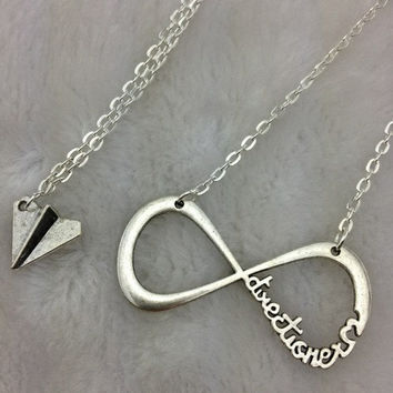"One Direction Infinity necklace & Paper airplane necklace Harry Styles Charm forever ""Directioner"" Infinite 1D Boy Band The best gift"