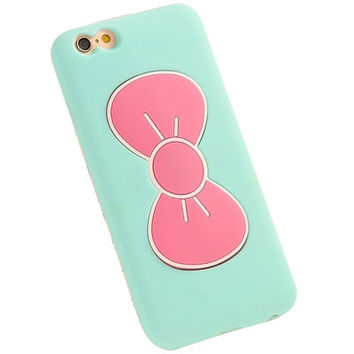 iPhone 6 6S Cute Butterfly Bow Stand Holder Phone Case (Aqua).